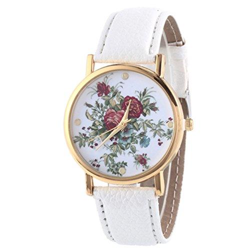 HITOP Damen Retro Vintage Kamelie Muster Armbanduhr Leather Quarz Lederarmband Uhr weiss