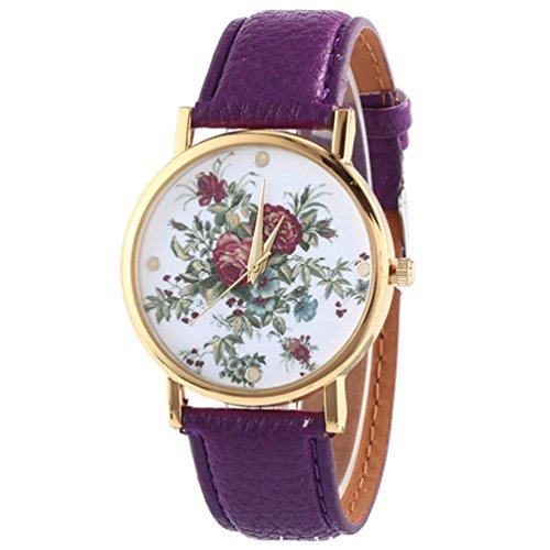 HITOP Damen Retro Vintage Kamelie Muster Armbanduhr Leather Quarz Lederarmband Uhr lila