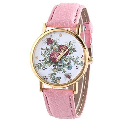 HITOP Damen Retro Vintage Kamelie Muster Armbanduhr Leather Quarz Lederarmband Uhr pink
