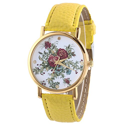 HITOP Damen Retro Vintage Kamelie Muster Armbanduhr Leather Quarz Lederarmband Uhr gelb