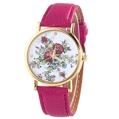 HITOP Damen Retro Vintage Kamelie Muster Armbanduhr Leather Quarz Lederarmband Uhr rosa