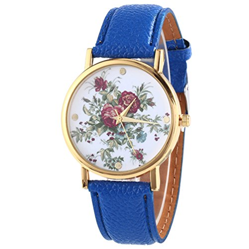 HITOP Damen Retro Vintage Kamelie Muster Armbanduhr Leather Quarz Lederarmband Uhr blau