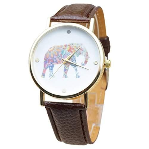 HITOP Vintage Retro Blumen Gluecklicher Elefant Damen Armbanduhr Basel-Stil Leather Quarz Lederarmband Uhr Top Watch braun