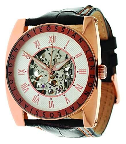 Tateossian Mens Rose Gold Armbanduhr Analog Automatik Leder braun WA0029