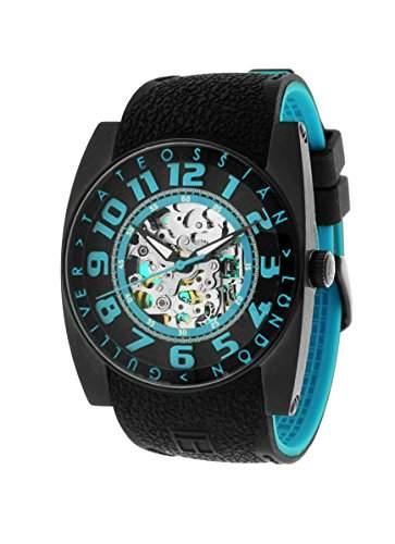 Tateossian MenAutomatik Armbanduhr mit blauem Zifferblatt Analog-Anzeige und blauem Silikon Strap WA0072