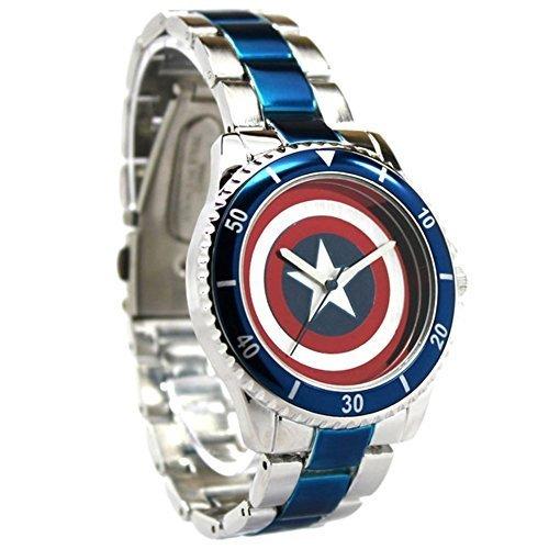 Offizielle Captain America rot weiss blau Shield Logo Armbanduhr Box