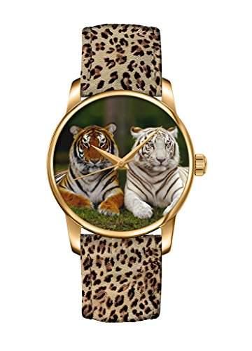 Tiger fashion Quarz Analog Damenuhr Maedchenuhr Damen Maedchen Uhr Leopard Leder Armband