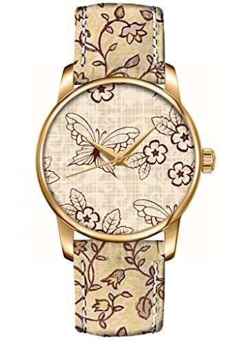 Muster fashion Quarz Analog Damenuhr Maedchenuhr Damen Maedchen Uhr ducken Leder Armband