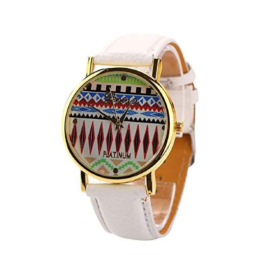 Sannysis® 2015 Frau Aztec Tribal Muster PU Leder Quarz Sport Uhr Uhren, Geschenk fuer Frauen Weiss
