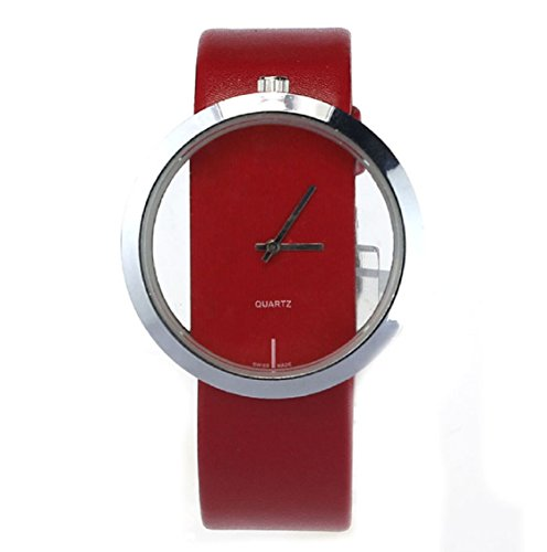 Amonfineshop TM Transparente Vorwahlknopf Analog Hohl Watch rote