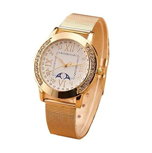 Sannysis Damen Classic roemischen Ziffern Quarz-Armbanduhr