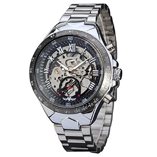 Sannysis Russische Skeleton automatische Uhren fuer Maenner Silber Edelstahl-Armbanduhr