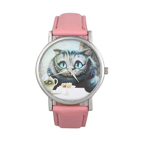 Sannysis Beilaeufigen Frauen nette Katze PU Leder Band Armbanduhr pink