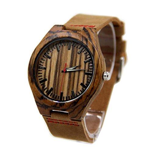 Sannysis Neue Entwurf PU lederner Bambusholz Uhren