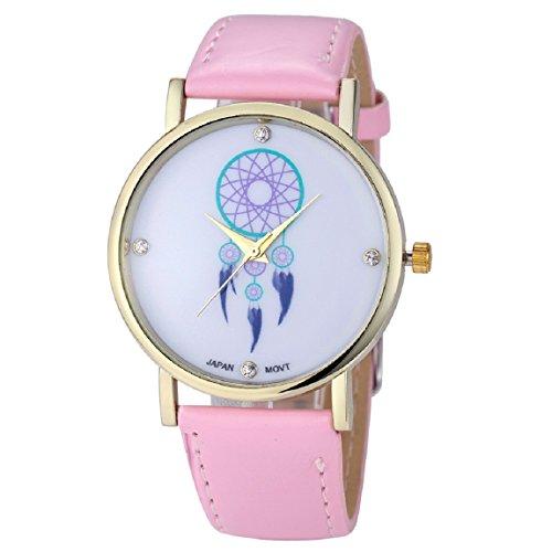 Sannysis Frauen Campanula Diamant PU Leder Quarz Armbanduhr