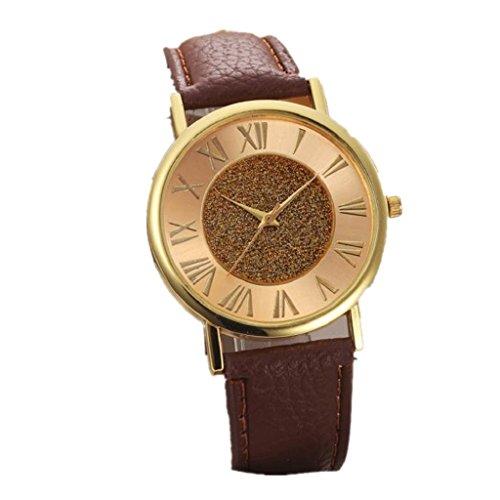Sannysis Mode Damen Glitzer Vorwahlknopf PU Leder Band Armbanduhr