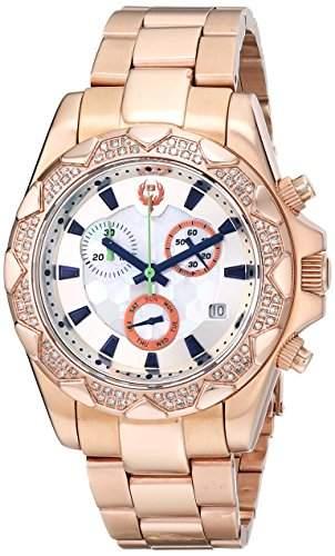 Brillier Damen-Armbanduhr 40mm Armband Edelstahl Rosarot + Gehaeuse Schweizer Quarz Analog 14-06