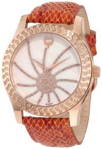 Brillier Damen 03 32424 09 Kalypso Rose Tone Copper Snakeskin Uhr