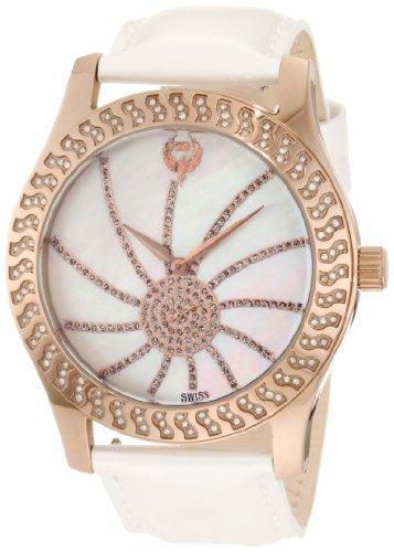 Brillier Damen 03 52424 11 Kalypso Bronze versilbert Weiss Leder Uhr