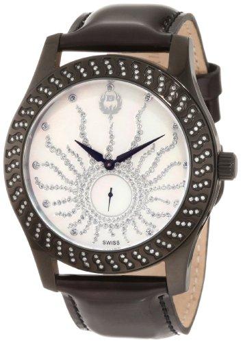Brillier Damen 03 12421 06 Kalypso Black IP Schwarz Leder Uhr