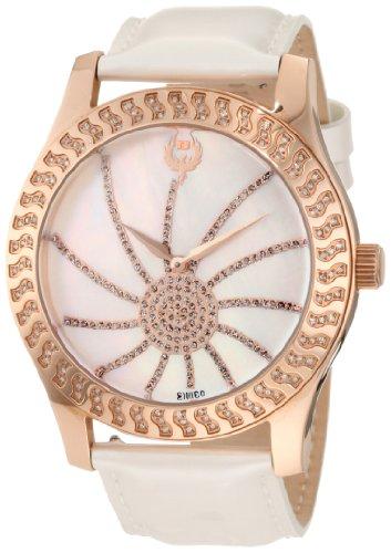 Brillier Damen 03 32421 07 Kalypso Rose Tone Weiss Leder Uhr