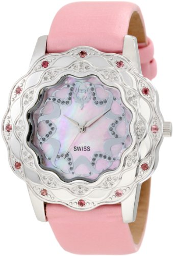 Brillier Damen 10 4B323 08 La Fleur runde Diamanten rosa Turmaline Steel Uhr