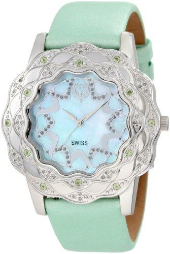 Brillier Damen 10 4C626 06 La Fleur runde Diamanten Peridots Steel Uhr