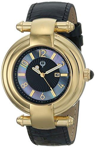 Brillier Damen Armbanduhr 40mm Armband Kalbsleder Schwarz Gehaeuse Edelstahl Quarz Analog 31 02