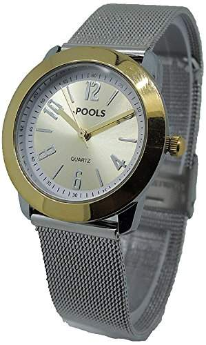 POOLS Damen-Armbanduhr Analog Quarz Edelstahl 1240