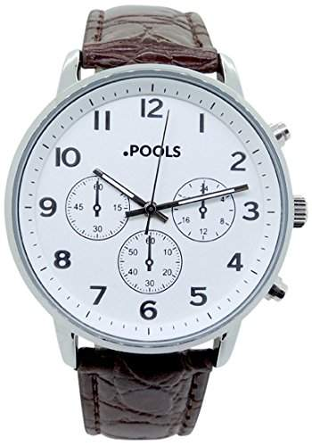 POOLS Herren-Armbanduhr Analog Quarz Kunstleder 3045