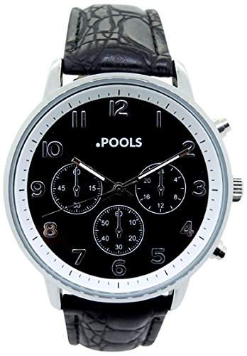 POOLS Herren-Armbanduhr Analog Quarz Kunstleder 3046