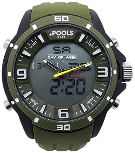 POOLS Herren-Armbanduhr Analog - Digital Quarz Silikon 3066