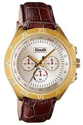 D&G Dolce&Gabbana WATCH PAMPELONNE CHR IPG LIGHT GOLD DIAL BROWN STRAP DW0433