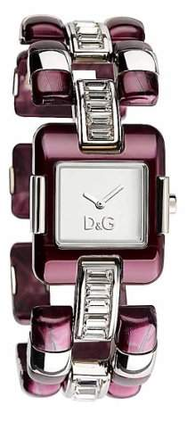 D&G Dolce&Gabbana-Damen-Armbanduhr VISIONNAIRE 2H BRC SILVER DIAL RED SS CASE DW0465