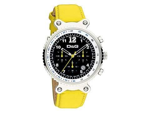 D&G Dolce&Gabbana Herren-Armbanduhr RYTHM MAN CHR SS BLK DIAL YELLOW STRAP DW0307