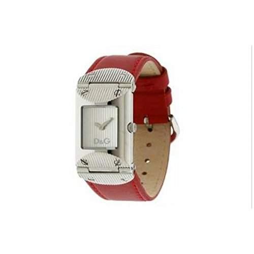 D&G Dolce&Gabbana Damen-Armbanduhr TWEED SLV DIAL RED STRAP DW0327