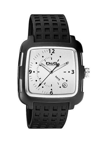 D&G Dolce&Gabbana Herren-Armbanduhr SQUARE 3H IP BLK FRAME SLV DIAL BLK STRAP DW0361