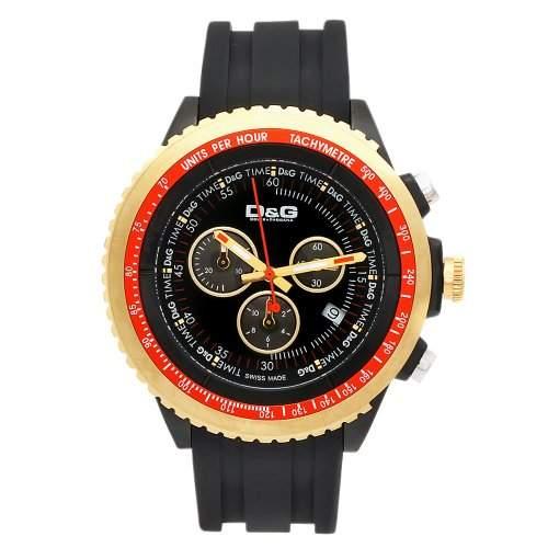 D&G Dolce&Gabbana Herren-Armbanduhr SIR CHR IP BLKIPG BEZEL BLK DIAL BLK RUBBER ST DW0369