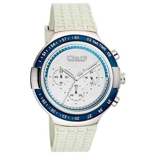D&G Dolce&Gabbana Herren-Armbanduhr JUAN CHR PLASTIC BLUE BEZEL SILVER DIAL GREY PU DW0417