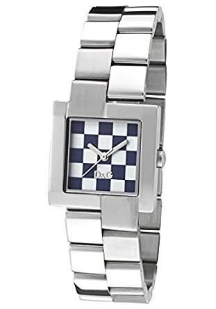 D&G Dolce&Gabbana Damen-Armbanduhr kariertes Zifferblatt
