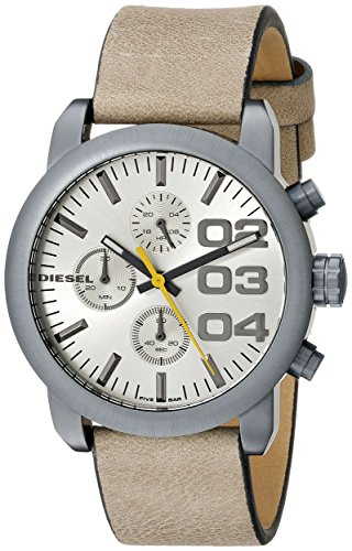 Diesel 40mm Armband Kalbsleder Braun Gehaeuse Edelstahl Quarz Zifferblatt Schwarz DZ5462