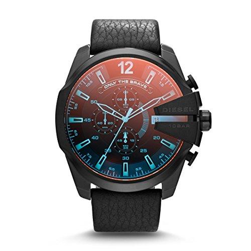 Diesel DZ4323 MEGA CHIEF Chronograph Uhr Lederarmband Edelstahl 100m Analog Chrono Datum schwarz