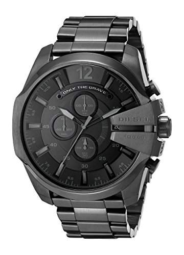 Diesel Herren-Armbanduhr Armband Edelstahl Schwarz + Gehaeuse Quarz Chronograph DZ4355