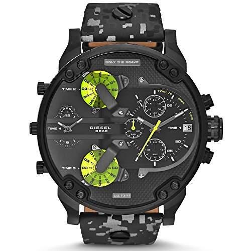 Diesel Herren-Armbanduhr XL Chronograph Quarz Leder DZ7311