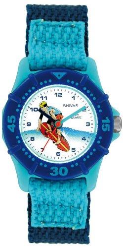 Shivas A69102 008 Zeigt Kinder Quarz Analog Zifferblatt weiss Armband Stoff blau