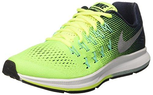 Nike Zoom Pegasus 33 Gs Uhr Con Correa de Acero Jungen Jungen Gelb Volt Metallic Silver Obsidian Green Glow 36 5 EU