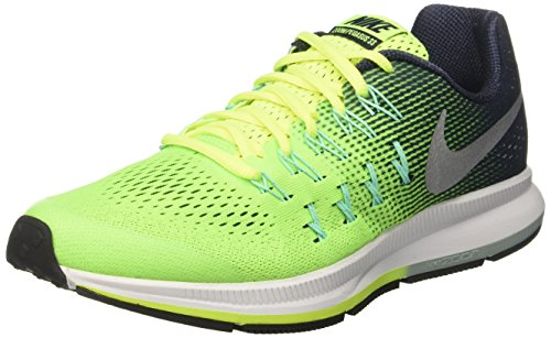 Nike Zoom Pegasus 33 Gs Uhr Con Correa de Acero Jungen Jungen Gelb Volt Metallic Silver Obsidian Green Glow 38 5 EU