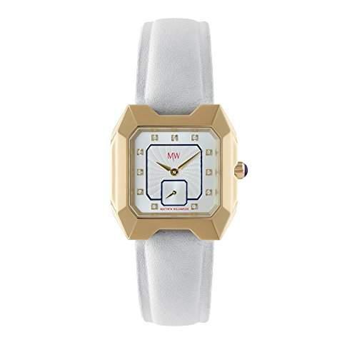 Matthew Williamson WomenQuarz-Uhr mit weissem Zifferblatt Analog-Anzeige und weisse Lederband lsm330 DE 0206