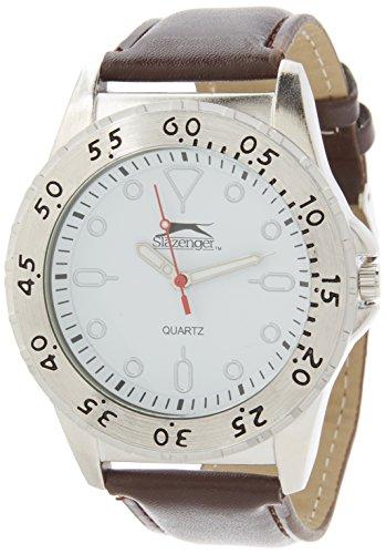 Slazenger Herren Armbanduhr weisses Zifferblatt braunes Armband