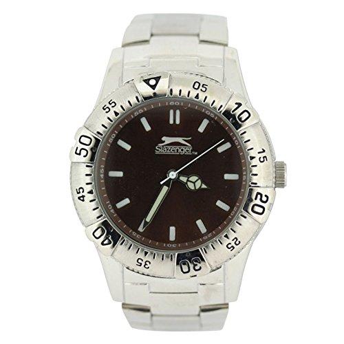 Slazenger Herren Quarz Uhr mit Burgandy Zifferblatt Analog Anzeige und Silber Armband slz103 C